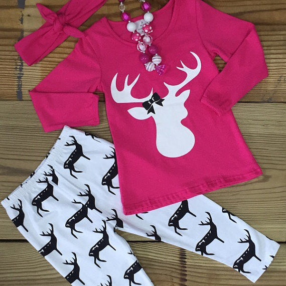 Hot Pink Deer Outfit-Outfits & Sets-CKCC-Cute Kids Clothing