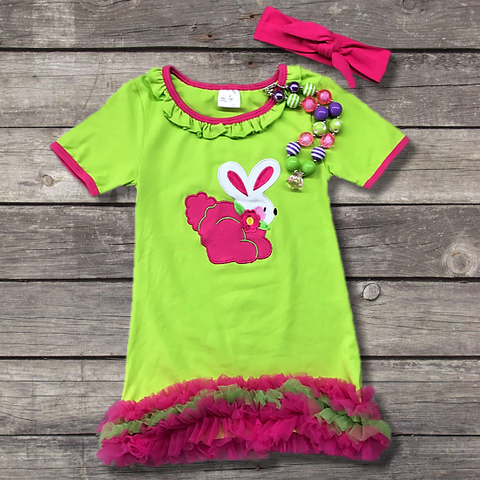 Green Ruffled Easter Bunny Dress-Outfits & Sets-CKCC-Cute Kids Clothing