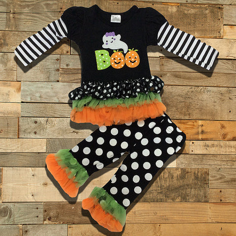 "Copy of Polka Dot Halloween ""BOO"" Ghost Ruffled Boutique Outfit-Outfits & Sets-CKCC-Cute Kids Clothing"