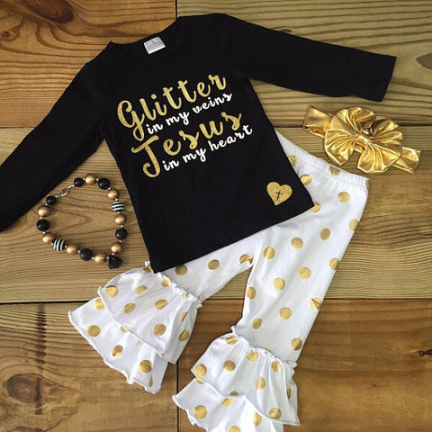 """Glitter In My Veins, Jesus In My Heart"" Gold Outfit-Outfits & Sets-CKCC-Cute Kids Clothing"