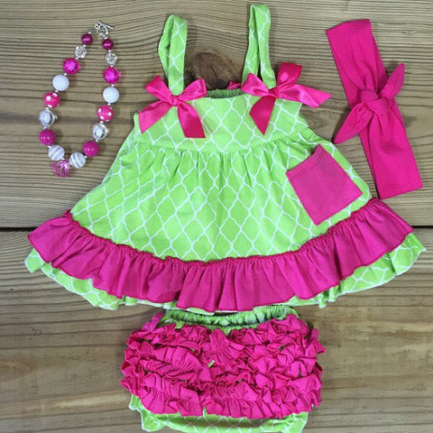 Lime & Hot Pink Ruffled Swing Top Set-Swing Top Set-CKCC-Cute Kids Clothing