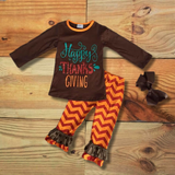 """Happy Thanksgiving"" Chevron Outfit-Outfits & Sets-CKCC-Cute Kids Clothing"