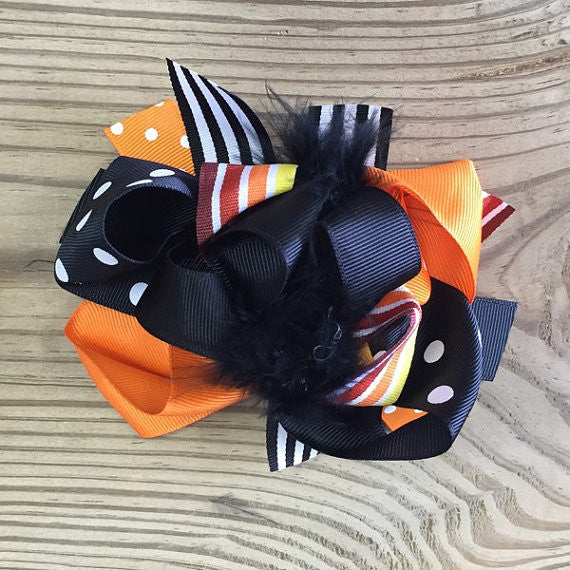 Black & Orange Korker Feather Hair Bow-Hair Accessories-CKCC-Cute Kids Clothing