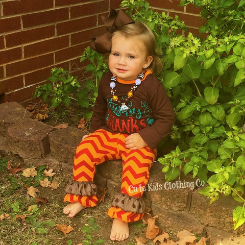 Happy Fall Y'all Damask Outfit-Outfits & Sets-CKCC-Cute Kids Clothing