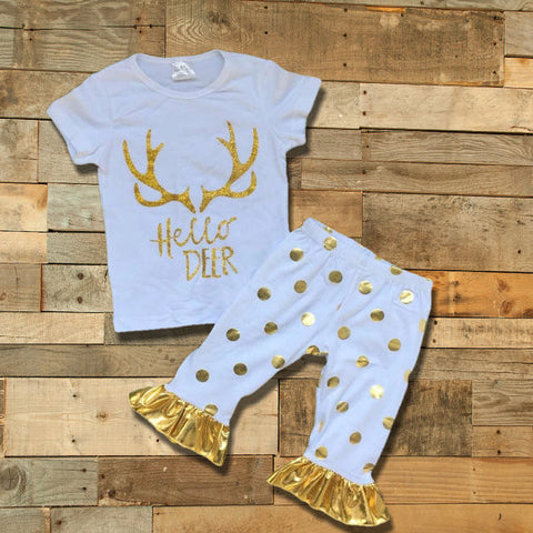 """Hello Deer"" White & Gold Polka Dot Outfit-Outfits & Sets-CKCC-Cute Kids Clothing"