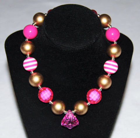 Hot Pink & Gold Chunky Beaded Gumball Necklace, Toggle Clasp-Necklaces & Pendants-CKCC-Cute Kids Clothing