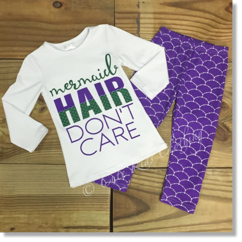 Mermaid Hair Don't Care Outfit-Outfits & Sets-CKCC-Cute Kids Clothing