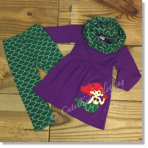 Mermaid Scarf Outfit-Outfits & Sets-CKCC-Cute Kids Clothing