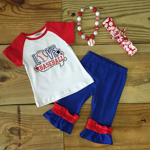 """Love Baseball"" Capri Outfit-Outfits & Sets-CKCC-Cute Kids Clothing"