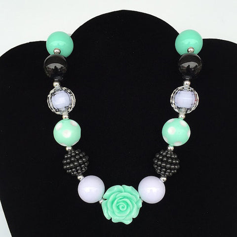 Black Mint Rose, Bubblegum Necklace-Jewelry-CKCC-Cute Kids Clothing