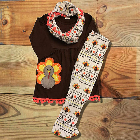 Brown Aztec Pom Pom Turkey Scarf Set-Outfits & Sets-Cute Kids Clothing Company-Cute Kids Clothing