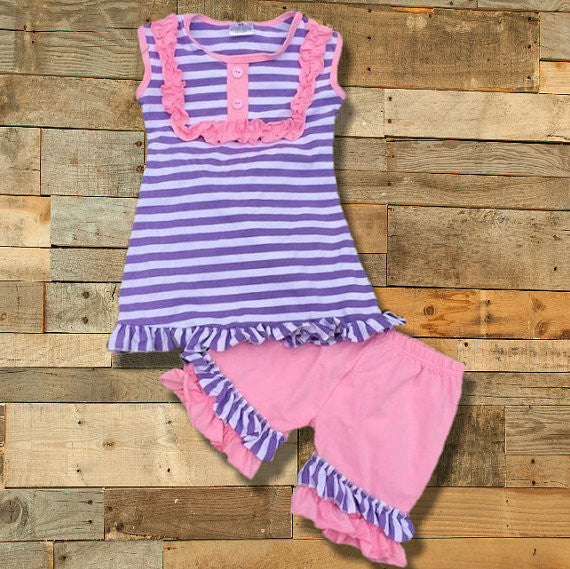 a03e3b3aaa889 Purple Striped Short Outfit Wholesale Lot