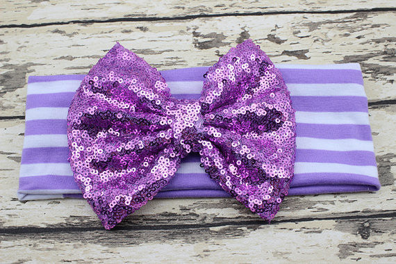 Lavender Striped Sequin Big Bow-Headband-CKCC-Cute Kids Clothing