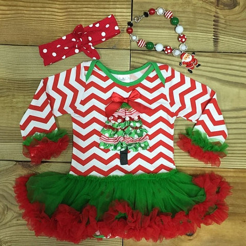 Chevron Christmas Tree Tutu Onesie-Tutu Onesie-CKCC-Cute Kids Clothing