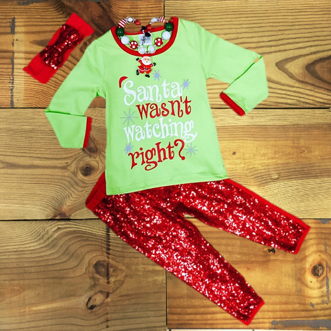 """Santa Wasn't Watching Right?"" Christmas Outfit-Outfits & Sets-CKCC-Cute Kids Clothing"