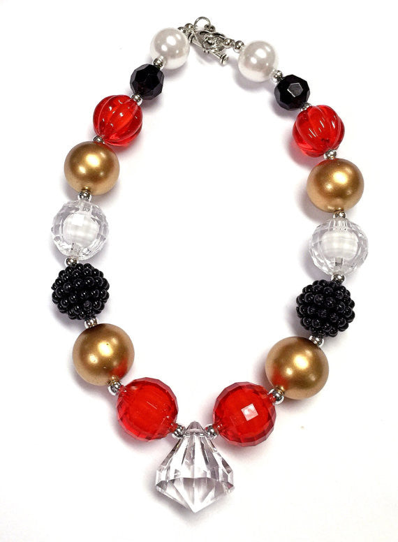 Red Gold Black Bubblegum Chunky Necklace Baby-Necklaces & Pendants-CKCC-Cute Kids Clothing