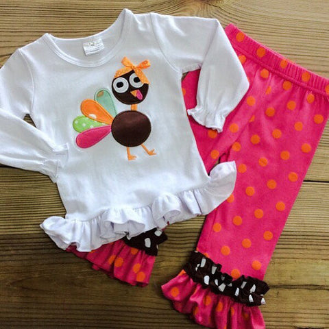 Hot Pink & Orange Polka Dot Turkey Outfit-Outfits & Sets-CKCC-Cute Kids Clothing