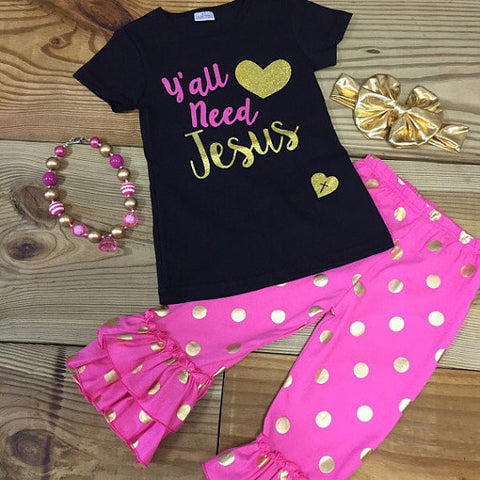 Infant Y'all Need Jesus Capri Outfit-Outfits & Sets-CKCC-Cute Kids Clothing
