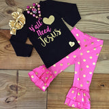 """Yall Need Jesus"" Gold Polka Dot Outfit-Outfits & Sets-CKCC-Cute Kids Clothing"