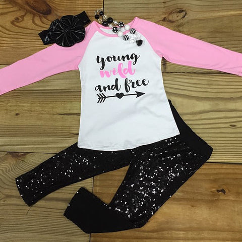 Outfit Young Wild And Free Outfit-Outfits & Sets-CKCC-Cute Kids Clothing