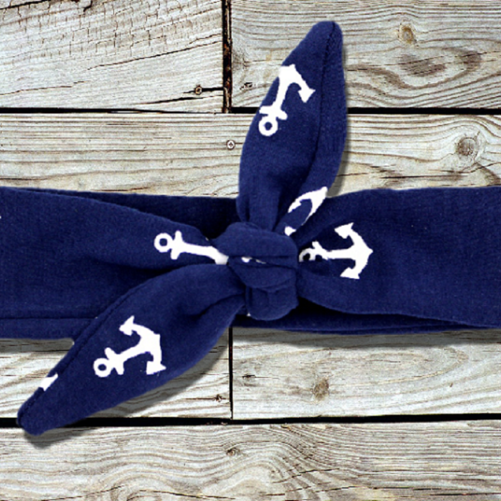 Little Navy Nautical Anchor Knotted Headband-Headband-CKCC-Cute Kids Clothing