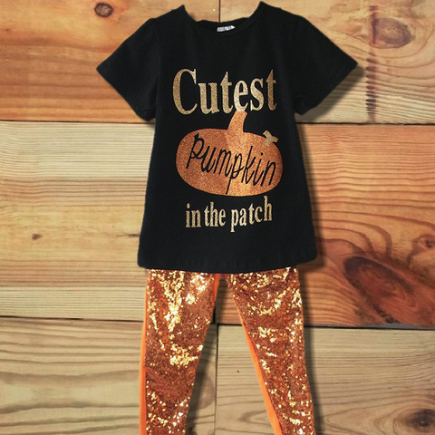 Cutest Pumpkin In The Patch Sequin Outfit-Outfits & Sets-CKCC-Cute Kids Clothing