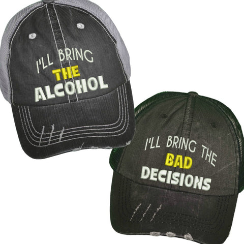 l'll Bring The Alchohol/Bad Decisions Yellow Custom Distressed Trucker Hat