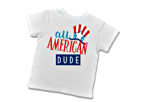 "Toddler Boy ""All American Dude"" T-Shirt-T-Shirt-Cute Kids Clothing Company-Cute Kids Clothing"