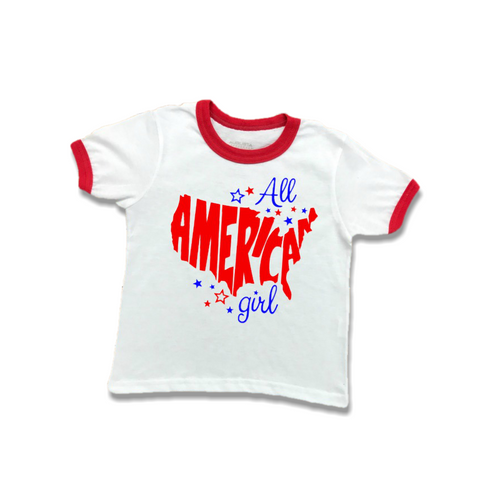 """All American Girl"" Toddler T-Shirt-ringer t-shirt-Cute Kids Clothing Company-Cute Kids Clothing"