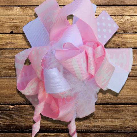 Pink Football Hair Bow-Hair Accessories-CKCC-Cute Kids Clothing