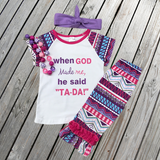 """When God Made Me, He Said Tada"" Aztec Capri Outfit-Outfits & Sets-CKCC-Cute Kids Clothing"
