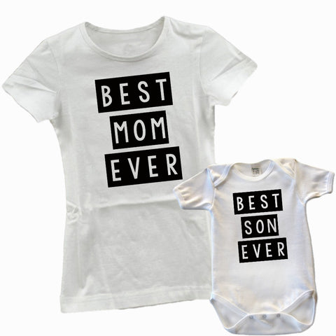 "Mommy and Me ""Best Mom/Son Ever"" T-Shirt/Bodysuit"