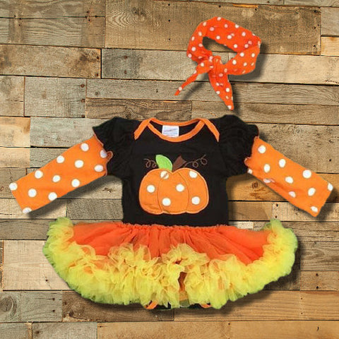 Halloween Pumpkin Tutu Bodysuit-Tutu Onesie-CKCC-Cute Kids Clothing