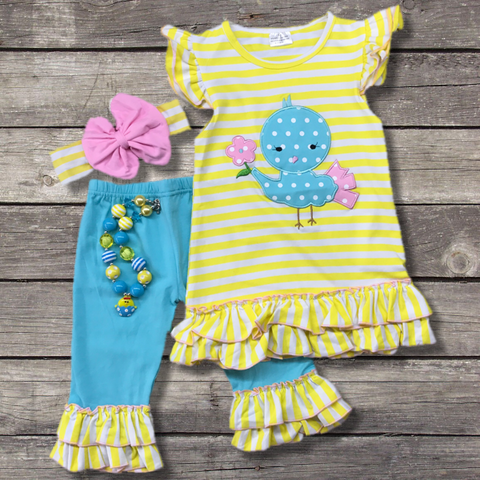 Blue Easter Chick Capri Outfit-Outfits & Sets-CKCC-Cute Kids Clothing