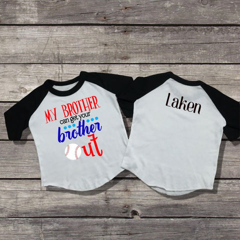 """My Brother"" Baseball Raglan T-Shirt-Girl T-Shirt-CKCC-Cute Kids Clothing"