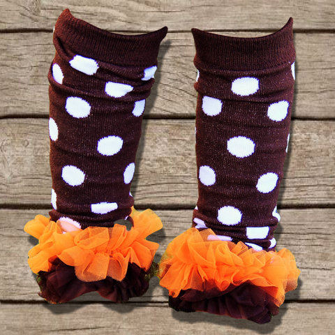 Brown Polka Dot Leg Warmers-Legwarmers-CKCC-Cute Kids Clothing
