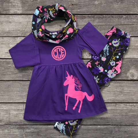 Purple Unicorn Scarf Outfitt-Outfits & Sets-CKCC-Cute Kids Clothing