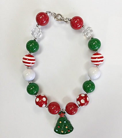 Christmas Tree Chunky Necklace-Jewelry-CKCC-Cute Kids Clothing