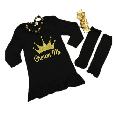 """Crown Me"" Black Ruffled Dress"