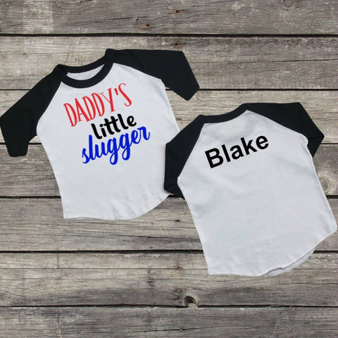 """Daddy's Little Slugger"" Baseball T-Shirt-Custom T-Shirt-CKCC-Cute Kids Clothing"