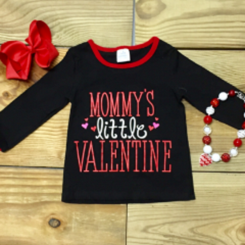 """Mommy's Little Valentine"" Girls T-Shirt Wholesale Valentine's Day Top"