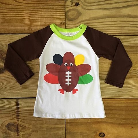 Boys/ ThanksgivingTurkey Football T Shirt-Outfits & Sets-CKCC-Cute Kids Clothing