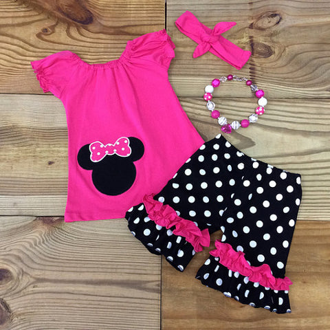 The Minnie Mouse Inspired Hot Pink Outfit-Outfits & Sets-CKCC-Cute Kids Clothing