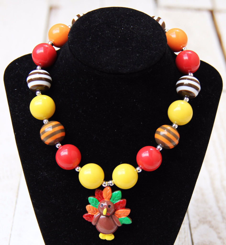 Thanksgiving Turkey Chunky Necklace-Necklaces & Pendants-CKCC-Cute Kids Clothing