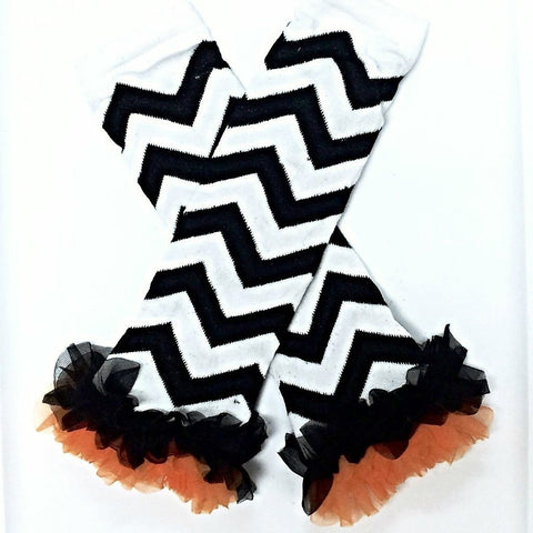 Black White Leg Warmers Orange Chiffon Ruffles-Cute Kids Clothing