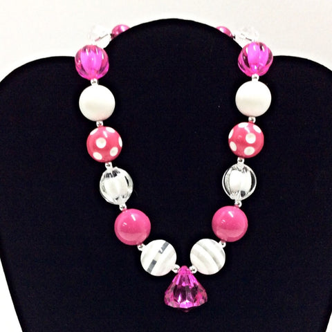 Hot Pink Bubblegum Necklace-Necklaces & Pendants-CKCC-Cute Kids Clothing