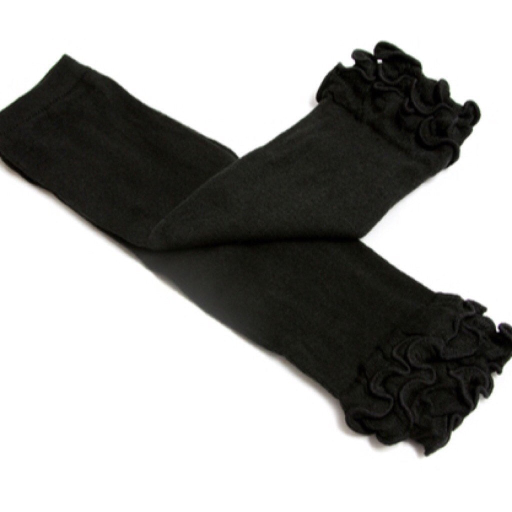 Solid Black Legwarmers Matches our Ruffled Black & Gold Crown Me Dress-Leg Warmers-CKCC-Cute Kids Clothing