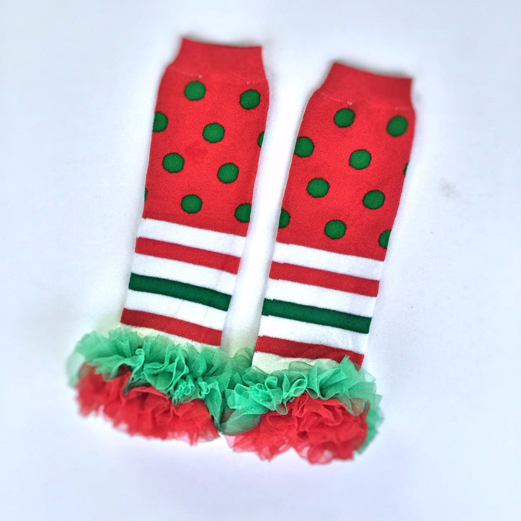 Red Polka Dot Striped Leg Warmers-Leg Warmers-CKCC-Cute Kids Clothing