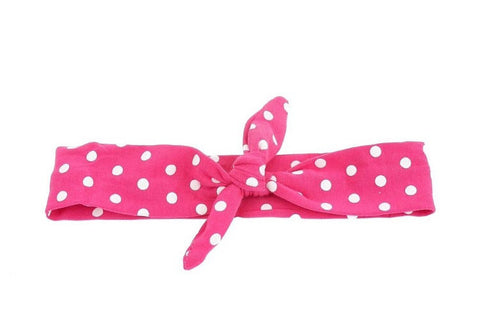Hot Pink Polka Knotted Headband-Headband-CKCC-Cute Kids Clothing