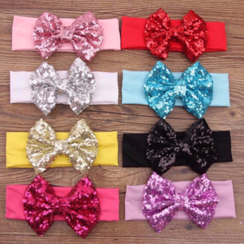 "5"" Big Sequin Bow Headband-Many Colors-Headband-CKCC-Cute Kids Clothing"